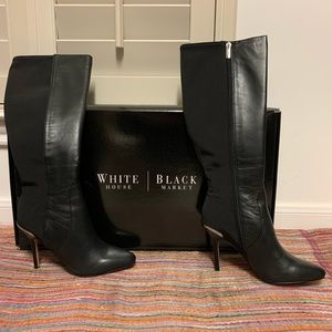WHBM Leather w. Elastic Back Boots Size 6 1/2 NWT
